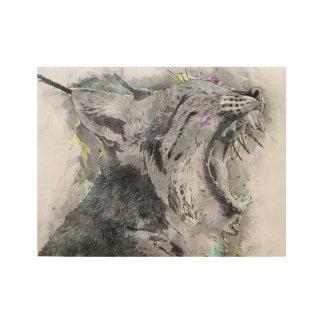 Poster En Bois Croquis de baîllement de chat sauvage