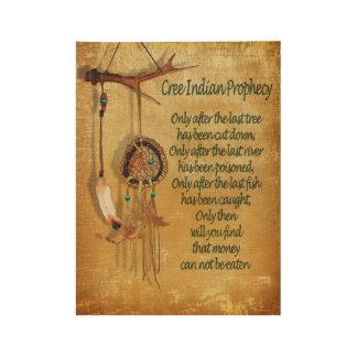 """Poster En Bois Indigène indienne """"prophétie de Cree """""""