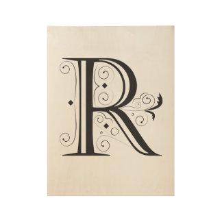 POSTER EN BOIS LETTRE, R, TYPOGRAFY