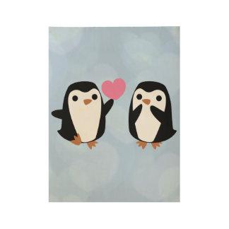 Poster En Bois Pingouins dans l'amour