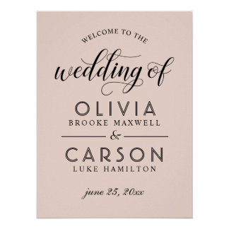 Poster En épousant le signe bienvenu | rougissez rose