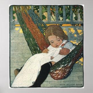 Poster Enfant vintage avec une poupée par Jessie Willcox