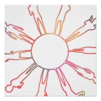 Poster Enfants autour du monde jouant sur un globe