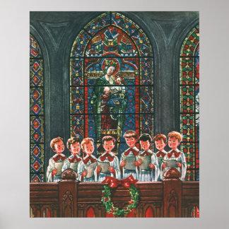 Poster Enfants vintages de Noël chantant le choeur dans