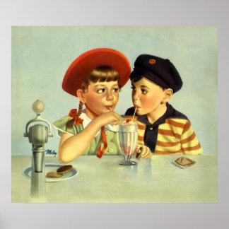 Poster Enfants vintages, garçon et fille partageant une