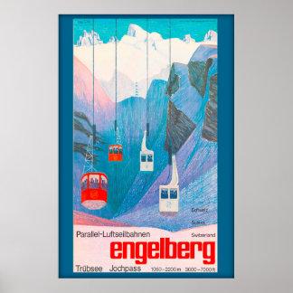 Poster Engelberg Suisse, affiche de ski