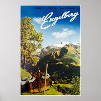 Poster Engelberg, Suisse, affiche de ski