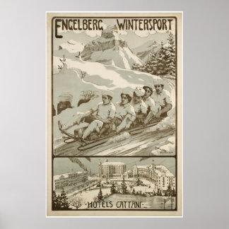 Poster Engelberg Wintersport, Suisse, affiche de ski