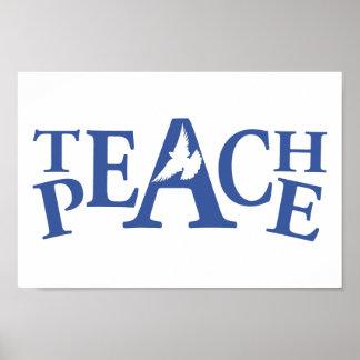 Poster Enseignez à paix l'art blanc simple de slogan de