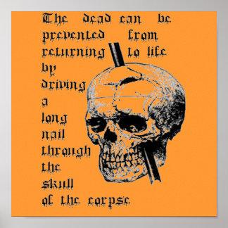 Poster Entraînement d'un long clou par le crâne d'un
