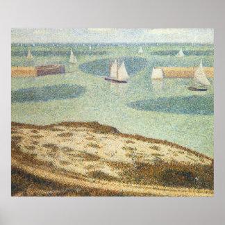 Poster Entrée au port par Georges Seurat, art vintage