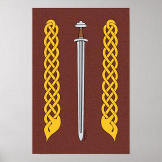 Poster Épée et Plaitwork de Viking