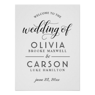 Poster Épousant le signe bienvenu | noir et blanc
