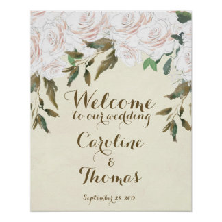 Poster Épouser floral blanc élégant d'affiche de signe
