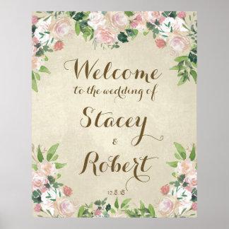 Poster Épouser floral élégant vintage de signe bienvenu