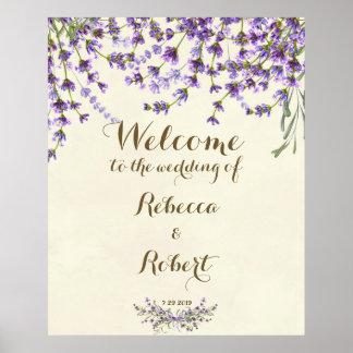 Poster épouser floral pourpre de lavande ene ivoire de