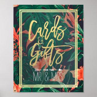 Poster Épouser floral tropical de cartes et de cadeaux de