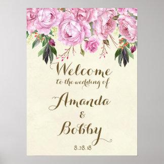 Poster Épouser la lavande florale lilas de signe bienvenu