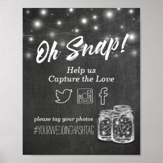 Poster Épouser le pot de maçon instantané de Hashtag