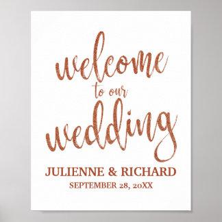Poster Épouser le signe de cuivre bienvenu des parties