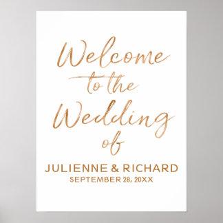 Poster Épouser le signe en lettres d'or rose élégant