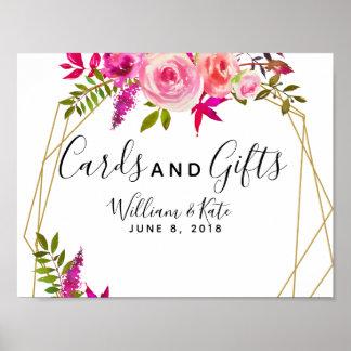 Poster épouser rose en cristal de cartes et de cadeaux de