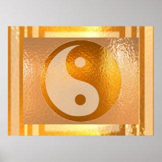 Poster Équilibre de YIN YANG : Large frontière d'or