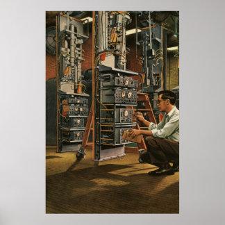 Poster Équipement vintage de fixation de technicien de