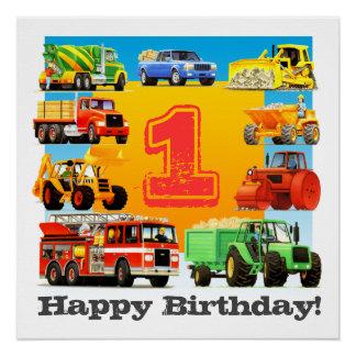 Poster Ęr camion de construction de joyeux anniversaire