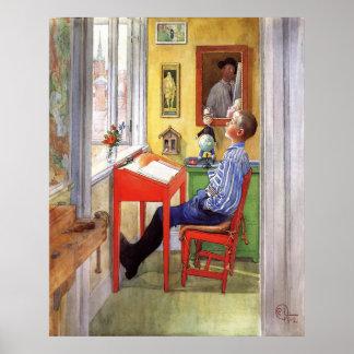 Poster Esbjorn faisant son travail par Carl Larsson