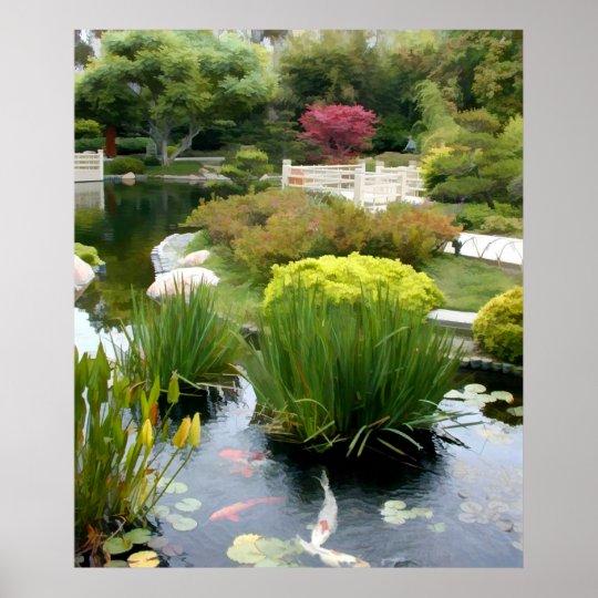 Poster tang japonais de jardin avec koi for Etang de jardin