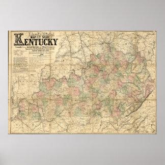 Poster État officiel de la carte de Llyod du Kentucky