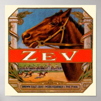 Poster Étiquette vintage de cigare, colt de Brown de