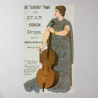Poster Étiquette vintage de produit, pastilles d'étoile