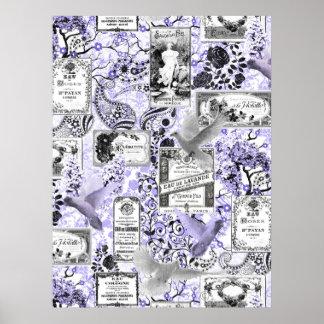 Poster Étiquettes vintages de savon et de parfum - lilas