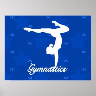 Poster Étoiles bleues de fille de gymnastique