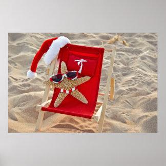 Poster Étoiles de mer de Noël sur la plage