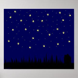 Poster Étoiles et affiche de ciel nocturne d'empreinte de