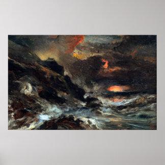 Poster Eugène Isabey une tempête outre de la côte de la