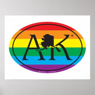 Poster Euro de fierté d'état de LGBT : AK Alaska