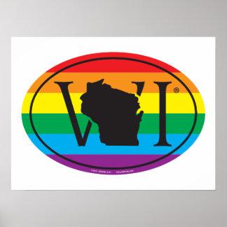Poster Euro de fierté d'état de LGBT : WI le Wisconsin