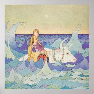 Poster Europa et Taureau par la Virginie Frances Sterrett