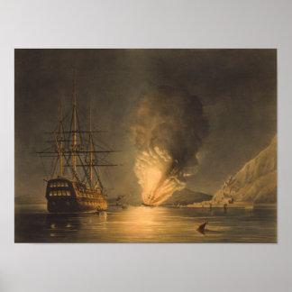 Poster Explosion de la frégate Missouri de vapeur d'USS