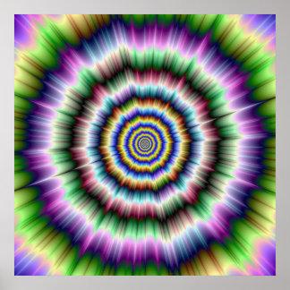 Poster Explosion en affiche verte et bleue violette