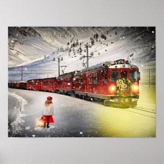 Poster Express de Pôle Nord - train de Noël - train de