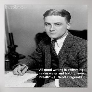 """Poster """"F Scott Fitzgerald sur """"bon écrivant la"""" citation"""