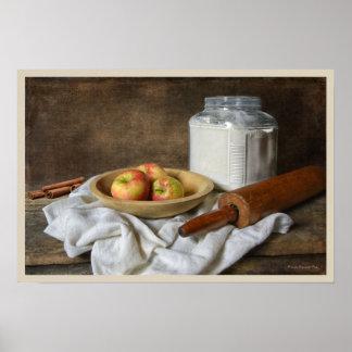 Poster Fabrication d'une tarte aux pommes