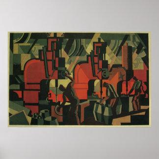 Poster Fabrication industrielle d'affaires vintages d'art