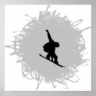 Poster Faire du surf des neiges le style de griffonnage