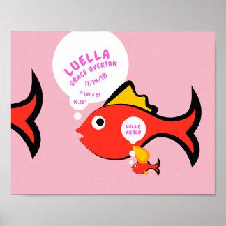 Poster Faire-part de naissance de poissons de bébé de